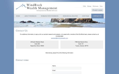 Screenshot of Contact Page windrockwealth.com - Contact Us - captured Oct. 26, 2014