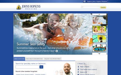 Screenshot of Home Page hopkinsmedicine.org - Johns Hopkins Medicine, based in Baltimore, Maryland - captured July 12, 2014