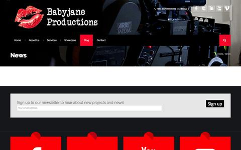 Screenshot of Press Page babyjaneproductions.com - News - BabyJane Productions - captured Sept. 30, 2014