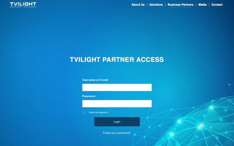 Screenshot of Login Page tvilight.com - Login – Tvilight – Empowering Intelligence - captured Oct. 6, 2017