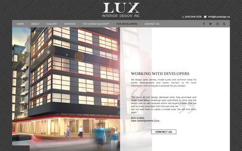 Screenshot of Developers Page luxdesign.ca - For Developers - LUX Interior Design - captured July 14, 2018