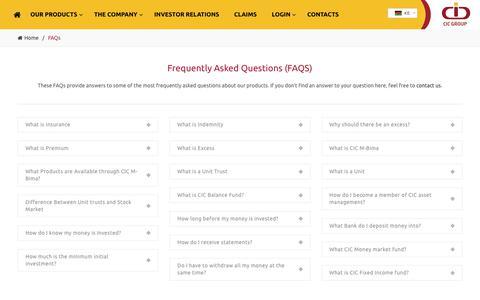 Screenshot of FAQ Page cic.co.ke - FAQs | CIC Group - captured July 9, 2017