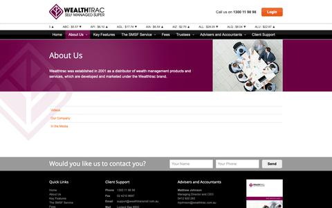 Screenshot of About Page wealthtracsmsf.com.au - About Us - Wealthtrac Self Managed Super Fund - SMSF - captured Nov. 4, 2018