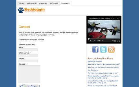 Screenshot of Contact Page sleddoggin.com - Contact | Sleddoggin.com - captured Oct. 26, 2014
