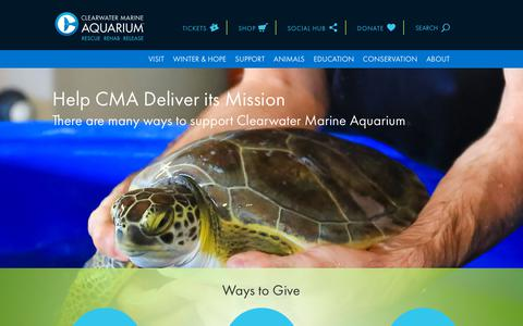 Screenshot of Support Page seewinter.com - Support, Donate and Get Involved | Clearwater Marine Aquarium - captured Aug. 11, 2018
