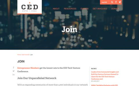 Screenshot of Signup Page cednc.org - Join CED in Raleigh-Durham NC | Entrepreneur Community - captured July 7, 2017