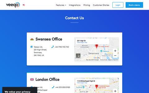 Screenshot of Contact Page veeqo.com - Contact Us | Veeqo - captured Oct. 13, 2019