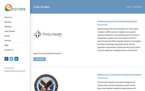 Screenshot of Case Studies Page architechsolutions.com - Case Studies Archives - ArchiTECH Solutions - captured Jan. 13, 2020