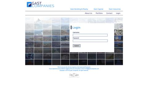 Screenshot of Login Page gastcompanies.com - Login | Gast Companies - captured Nov. 4, 2018