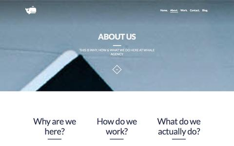 Screenshot of About Page whale-agency.com - About us | Digital Creative Agency | Whale Agency Arnhem - captured Oct. 9, 2014