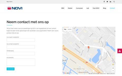 Screenshot of Contact Page novi.nl - Contact met NOVI - Hogeschool NOVI - captured Aug. 14, 2016