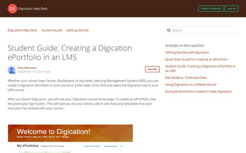 Screenshot of Support Page digication.com - Student Guide: Creating a Digication ePortfolio in an LMS – Digication Help Desk - captured Jan. 8, 2020