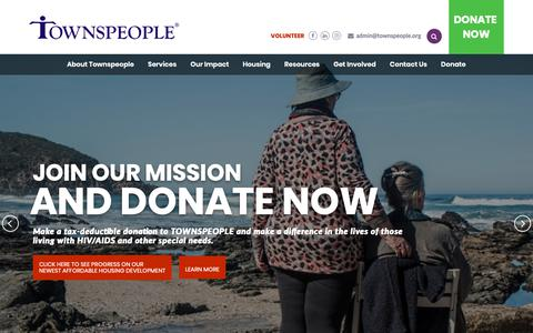 Screenshot of Home Page townspeople.org - Townspeople - captured Oct. 20, 2018