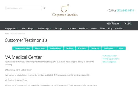 Screenshot of Testimonials Page corporatejewelersinc.com - Customer Testimonials - captured Sept. 29, 2018