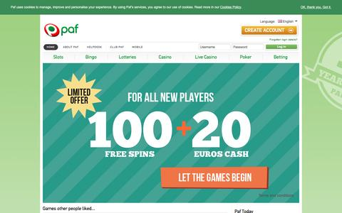 Screenshot of Home Page paf.com - Slots, Bingo, Casino, Poker, Betting online - Play among friends - Paf.com - captured Oct. 14, 2015