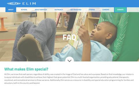 Screenshot of FAQ Page elimcs.org - FAQ : Elim Christian Services - captured July 29, 2017