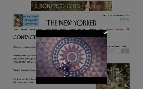 Screenshot of Contact Page newyorker.com - Contact Us - The New Yorker - captured Dec. 11, 2015