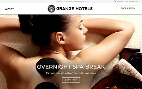 Screenshot of Home Page grangehotels.com - Grange Hotels London | 4 & 5-Star Accommodation London. - captured Jan. 20, 2018