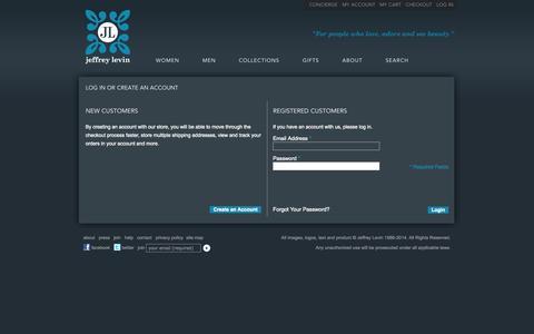 Screenshot of Login Page jeffreylevin.com - Customer Login - captured Oct. 29, 2014