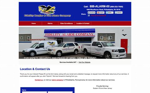 Screenshot of Contact Page fidelityalarm.com - Alarm Company | Philadelphia, PA | Location & Contact Us - captured Nov. 3, 2014