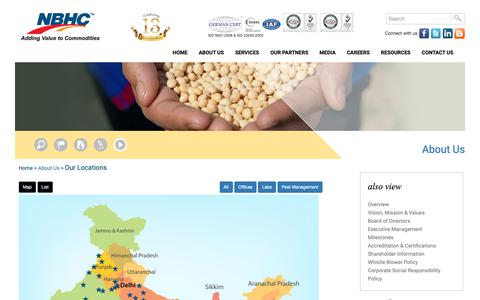 Screenshot of Locations Page nbhcindia.com - National Bulk Handling Corporation Pvt. Ltd. (NBHC) - Adding Value to Commodities :: An ISO 9001:2000 and ISO 22000:2005 Certified Company - captured Oct. 19, 2018