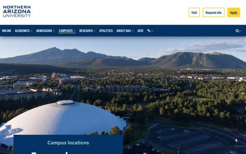 Screenshot of Locations Page nau.edu - Get your degree on campus or online | Northern Arizona University - captured July 16, 2018