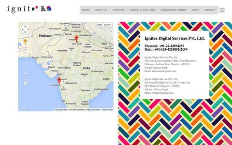 Screenshot of Contact Page ignitee.com - Contact:  Ignitee – Digital Marketing & Social Media Solution - captured Oct. 30, 2014