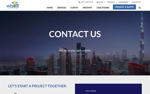 Screenshot of Contact Page wisoftsolutions.com - Contact Us - Email or Talk to a Digital & SMS Marketing Experts | Wisoft - captured May 6, 2018