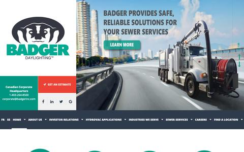 Screenshot of Home Page badgerinc.com - Home > Badger Daylighting™ - Hydrovac Services (Non-Destructive Excavation) Company In Canada And The USA - captured Oct. 4, 2018