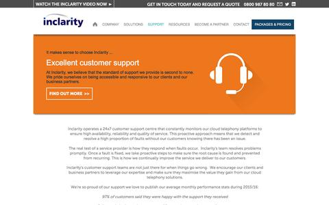 Screenshot of Support Page inclarity.co.uk - Inclarity - Support - captured Aug. 5, 2016