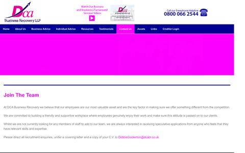 Screenshot of Jobs Page dcabr.co.uk - Careers | DCABR | DCA Business Recovery LLP - captured Feb. 8, 2016
