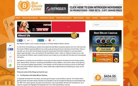 Screenshot of About Page bestbitcoincasino.com - About Best Bitcoin Casino � We�ve Got the Bests for You! - captured Jan. 1, 2016