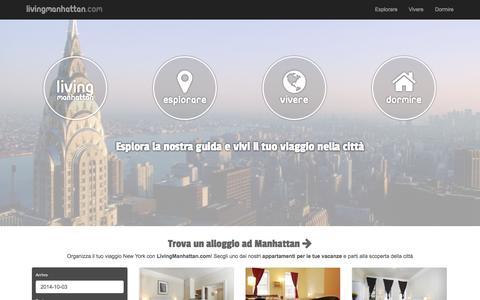 Screenshot of Home Page livingmanhattan.com - Esplora Manhattan e vivi il tuo viaggio con i nostri appartamenti - captured Oct. 2, 2014