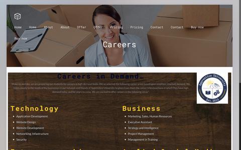 Screenshot of Jobs Page apprentice-university.com - Careers | Apprentice UniversityApprentice University - captured Feb. 6, 2016