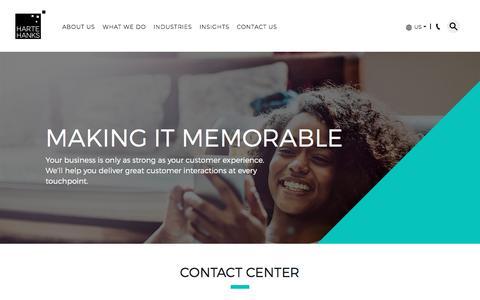 Screenshot of Support Page hartehanks.com - Contact Center | Harte Hanks - captured July 7, 2018