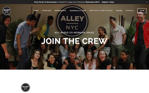 Screenshot of Jobs Page alleynyc.com - Hiring — AlleyNYC - The Most Badass Coworking Space on the Planet - captured Sept. 22, 2014