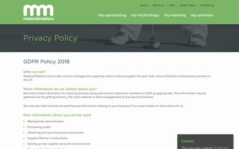 Screenshot of Privacy Page materialmattersltd.co.uk - Privacy Policy | Material Matters - captured Oct. 17, 2018
