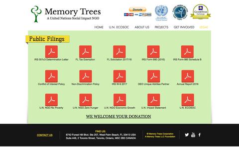 Screenshot of Terms Page memorytrees.co - Memory Trees Home   LEGAL - captured Oct. 18, 2017