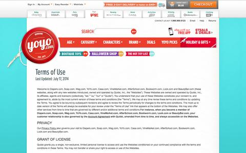 Screenshot of Terms Page yoyo.com - Terms of Use - YoYo.com - captured Oct. 27, 2014
