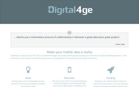 Screenshot of Home Page digital4ge.com - Digital4ge - Turning Ideas into Businesses | - captured Sept. 30, 2014