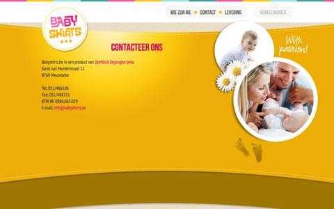 Screenshot of Contact Page babyshirts.be captured Oct. 5, 2014