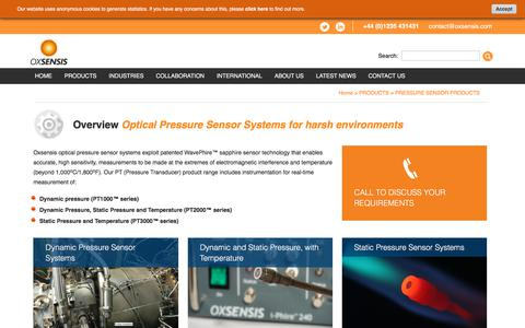 Screenshot of Products Page oxsensis.com - Pressure Sensor Product Overview v2 - oxsensis - captured July 13, 2018