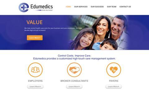 Screenshot of Home Page edumedics.com - Home   Edumedics - captured Jan. 14, 2015