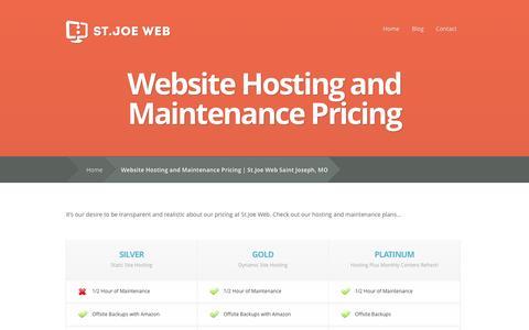 Screenshot of Pricing Page stjoeweb.com - Website Hosting and Maintenance Pricing   St.Joe Web Saint Joseph, MO - captured Oct. 9, 2014