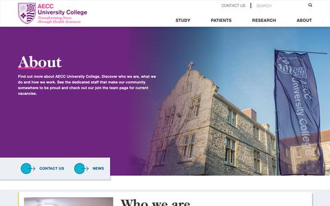 Screenshot of About Page aecc.ac.uk - About Us | AECC University College  | AECC University College | Transforming lives through Health Sciences - captured Nov. 6, 2018