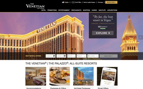 Screenshot of Home Page venetian.com - Luxury Resort Hotel Casino | The Venetian® Las Vegas - captured Sept. 30, 2015