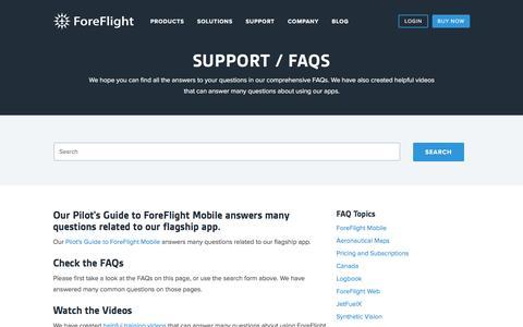Screenshot of FAQ Page foreflight.com - ForeFlight - Support - captured Sept. 5, 2016