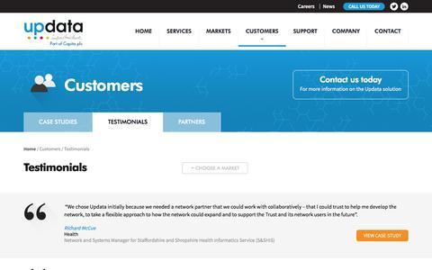 Screenshot of Testimonials Page updata.net - Updata's Customer Testimonials | Updata - captured Feb. 22, 2016