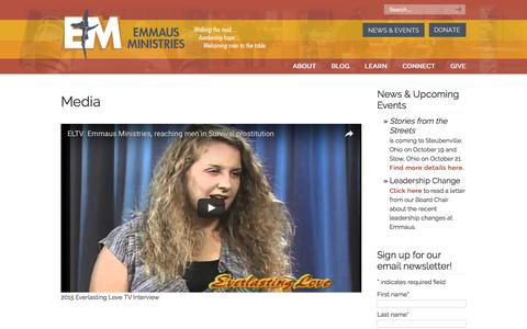 Screenshot of Press Page streets.org - Media | Emmaus Ministries – Chicago, IL - captured Nov. 6, 2016