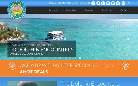Screenshot of Home Page dolphinencounters.com - Dolphin Encounters - Nassau, Bahamas - captured Feb. 9, 2016